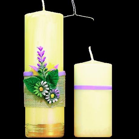 Dekoratívna sviečka Valec 50/150 zo setu Levander