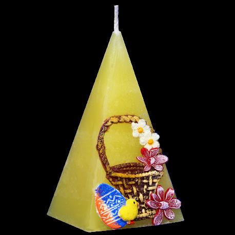 Veľkonočná Sviečka s kvietkami, tvar Pyramída