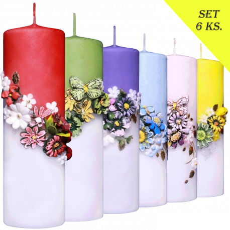 Set 6 ks Sviečok Color of Spring