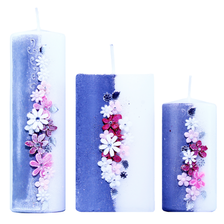 Set 3 ks. dekoratívnych sviečok