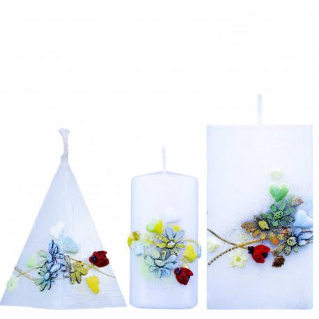 dekoratívny set 2 ks sviečok v motíve jarná príroda