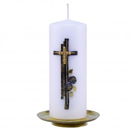 Smútočná sviečka Valec 318g biela