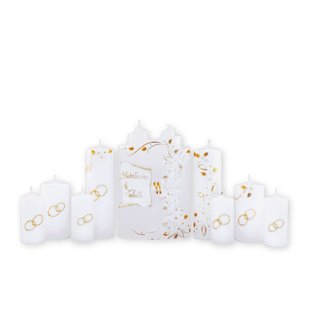 Luxusný set svadobných sviečok 8 ks.