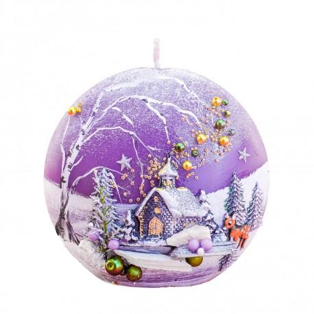 Vianočná sviečka DISK ručne maľovaná