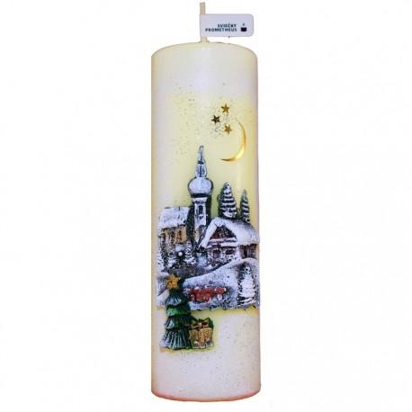 Vianočná sviečka Valec 250g - Zimná Krajinka