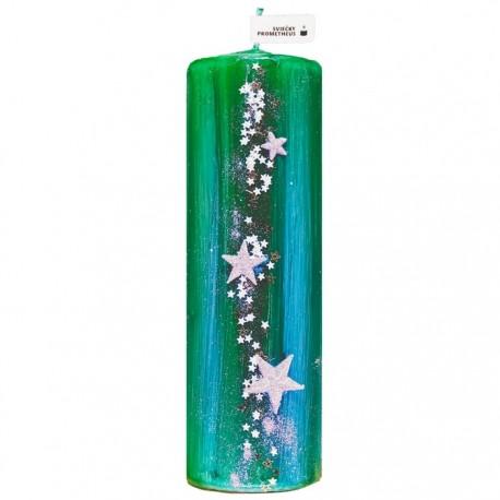 Vianočná sviečka Valec 250g - Hviezdy