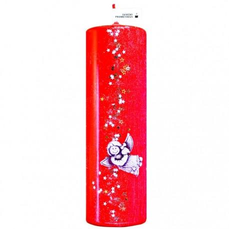 Vianočná sviečka Valec 250g - Anjel a hviezdy