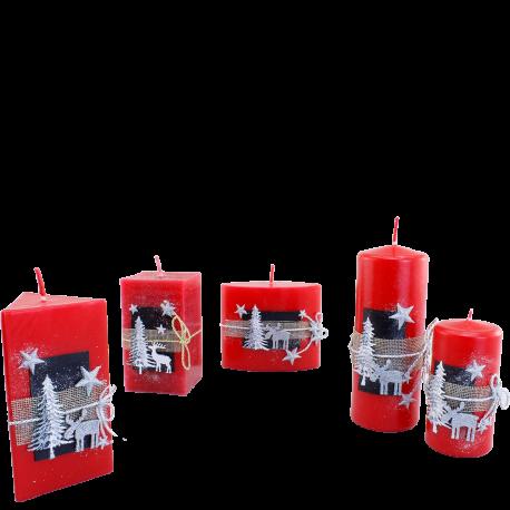 Vianočný set sviečok Red Provensall 5 ks.