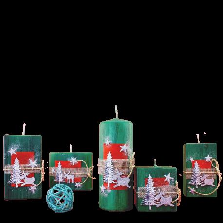 Vianočný set sviečok Green Provensall 5 ks.